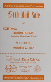 274th Mail Sale of Exceptional Numismatic Items
