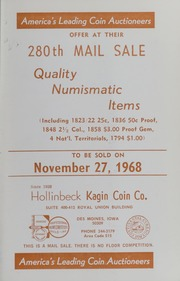 280th Mail Sale: Quality Numismatic Items
