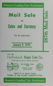 287th Mail Sale of Coins and Currency