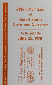289th Mail Sale of United States Coins and Currency