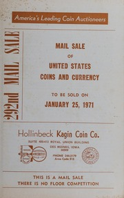 292nd Mail Sale: Mail Sale of United States Coins and Currency