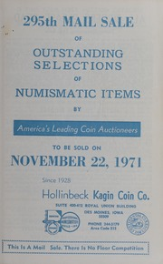 295th Mail Sale of Outstanding Selections of Numismatic Items