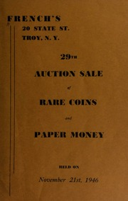 29th auction sale of rare coins and paper money. [11/21/1946]