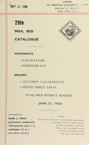 29th mail bid catalogue .. [06/21/1958]
