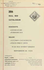 30th mail bid catalogue ... [11/28/1959]