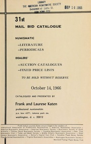 31st mail bid catalogue ... [10/14/1966]
