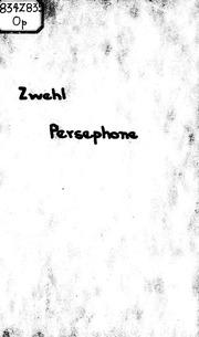 Persephone microform : ein Schauspiel
