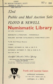 32nd public and mail auction sale : Floyd B. Newell numismatic library and other consignments ... [10/18-19/1968]