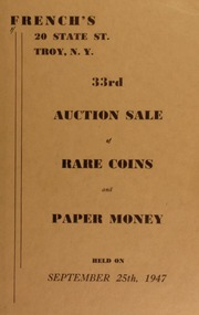 33rd auction sale of rare coins and paper money. [09/25/1947]