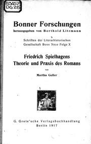 Friedrich Spielhagens Theorie und Praxis des Romans microform