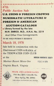 47th Public auction sale ... : library formed by the late M.W. Emrick ... [03/18/1978]