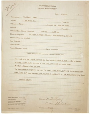 Rosa Parks' Arrest Records : National Archives : Free ...