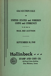 63rd Auction Sale of United States and Foreign Coins and Currency