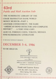 63rd public and mail auction sale : the numismatic library of the Chase manhattan bank world money museum ... [12/05-06/1986]