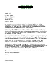 Letter to Gov. Walker from Herman Baumann, WCIJ board member