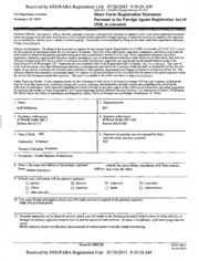Newinco, Inc. Foreign Agents Registration Act filing ...