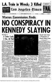 Warren Commission Finds: No Conspiracy in Kennedy Slaying