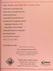 84th public and mail bid auction sale : United States & foreign coins ... [07/11-12/1997]