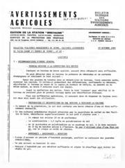 Avertissements Agricoles - Cultures légumières - Bretagne - 1983 - 15