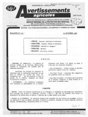 Avertissements Agricoles - Cultures légumières - Bretagne - 1987 - 14