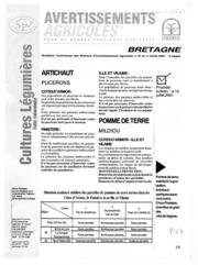 Avertissements Agricoles - Cultures légumières - Bretagne - 2001 - 18