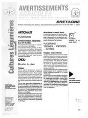 Avertissements Agricoles - Cultures légumières - Bretagne - 2001 - 23