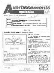 Avertissements Agricoles - Grandes cultures - Alsace - 1986 - 25