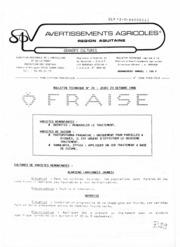 Avertissements Agricoles - Grandes cultures - Aquitaine - 1986 - 22