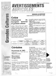 Avertissements Agricoles - Grandes cultures - Auvergne - 1998 - 1