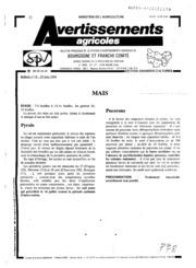 Avertissements Agricoles - Grandes cultures - Bourgogne Franche comte - 1994 - 18