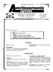 Avertissements Agricoles - Grandes cultures - Bourgogne Franche comte - 1994 - 25