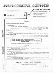 Avertissements Agricoles - Grandes cultures et Cultures légumières - Alsace Lorraine - 1983 - 26