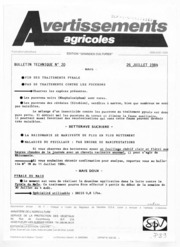 Avertissements Agricoles - Grandes cultures - Centre - 1984 - 20