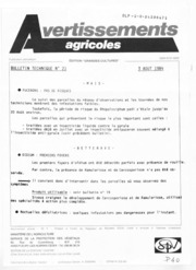 Avertissements Agricoles - Grandes cultures - Centre - 1984 - 21