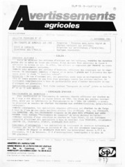 Avertissements Agricoles - Grandes cultures - Centre - 1986 - 27