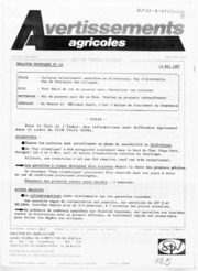 Avertissements Agricoles - Grandes cultures - Centre - 1987 - 12