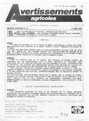 Avertissements Agricoles - Grandes cultures - Centre - 1989 - 21