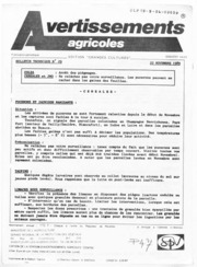 Avertissements Agricoles - Grandes cultures - Centre - 1989 - 29