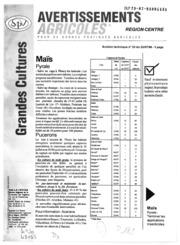 Avertissements Agricoles - Grandes cultures - Centre - 1998 - 22