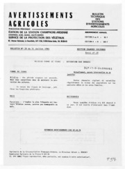 Avertissements Agricoles - Grandes cultures - Champagne Ardenne - 1984 - 18