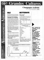 Avertissements Agricoles - Grandes cultures - Champagne Ardenne - 1996 - 18