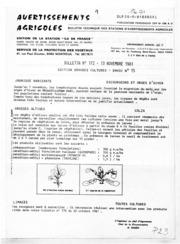 Avertissements Agricoles - Grandes cultures - Ile de France - 1981 - 15