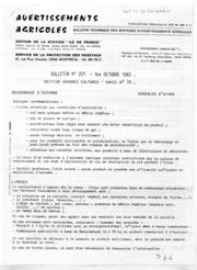 Avertissements Agricoles - Grandes cultures - Ile de France - 1982 - 14