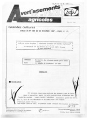 Avertissements Agricoles - Grandes cultures - Ile de France - 1987 - 23