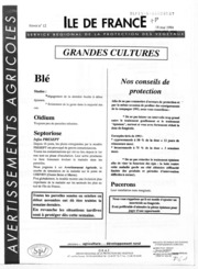 Avertissements Agricoles - Grandes cultures - Ile de France - 1994 - 12