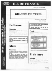 Avertissements Agricoles - Grandes cultures - Ile de France - 1994 - 19