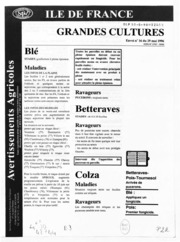 Avertissements Agricoles - Grandes cultures - Ile de France - 1996 - 15