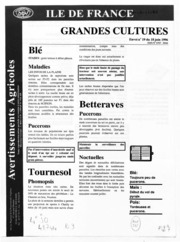 Avertissements Agricoles - Grandes cultures - Ile de France - 1996 - 18
