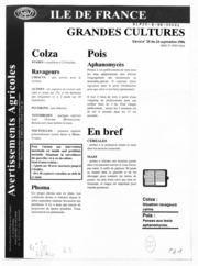 Avertissements Agricoles - Grandes cultures - Ile de France - 1996 - 27
