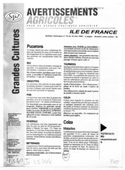 Avertissements Agricoles - Grandes cultures - Ile de France - 1998 - 14